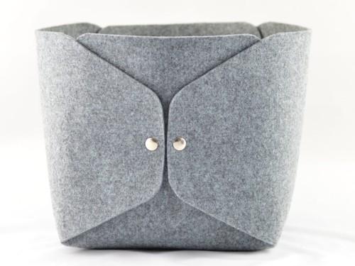 Pudełko Filcowe Szare Minimalistyczne Duże Wysokie